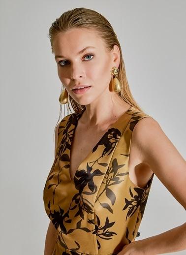 People By Fabrika Desenli Saten Elbise Altın